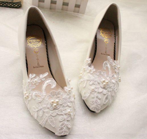 Белые свадебные туфли для женщин, Tg106 мед-пятки стабильный удобные жемчуг сладкие аппликации дамы день рождения ну вечеринку белые туфли