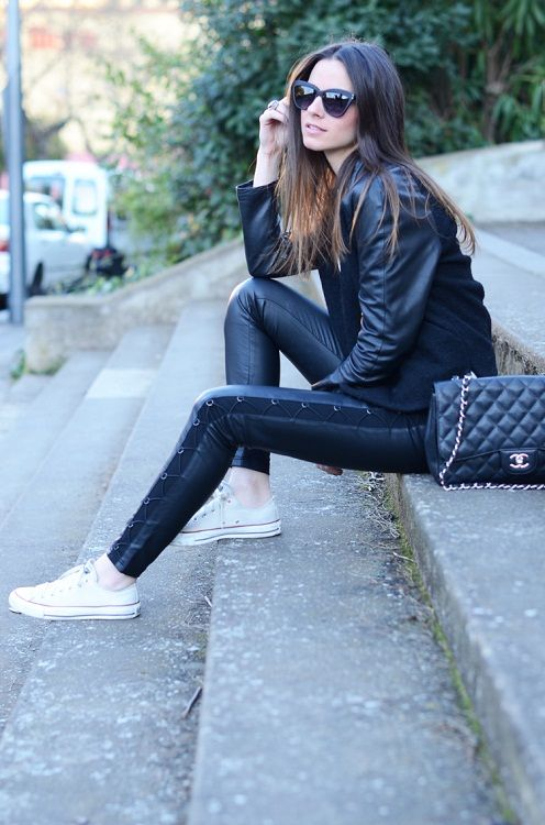 Everything I love in one pic: Leather, Chucks, & Chanel