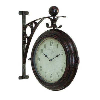 Woodland Imports Dual Sided Train Station Clock