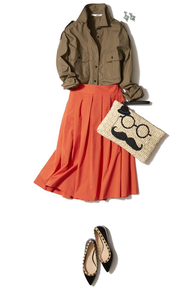 鮮やかオレンジで気分一新!春本番はキレイ色スカートで始めましょう♪ ― A