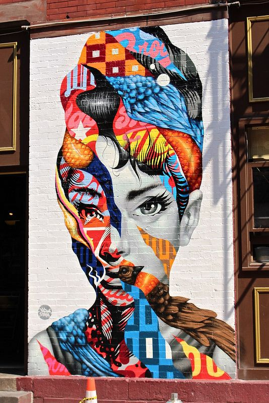 Audrey Hepburn Graffiti in Little Italy - New York City #street art #streetart #graffiti