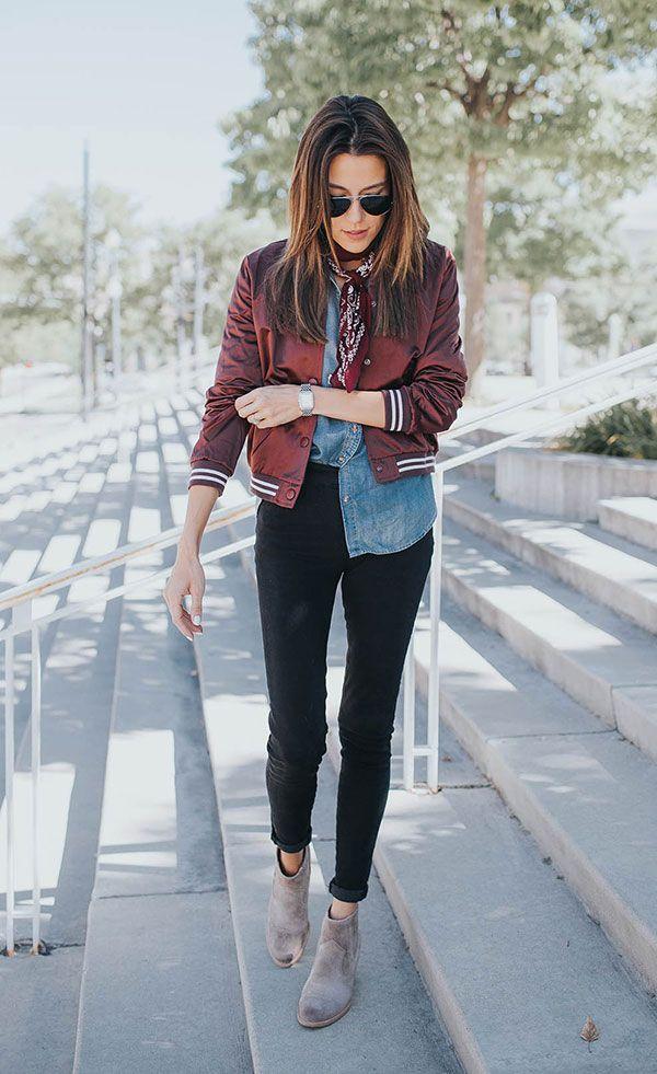 How to wear a bomber jacket, como usar uma bomber jacket, look com jeans, jeans outfit, look com lenço, fashion trend