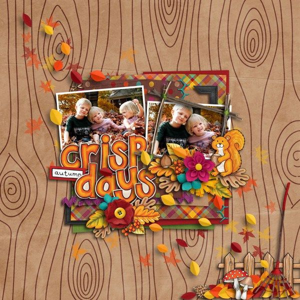 """Fall digital scrapbooking layout created with """"Fantabulous Fall"""" kit by Kate Hadfield & Kim Jensen. Ideas for autumn scrapbook pages! Layout by Creative Team member Akizo"""