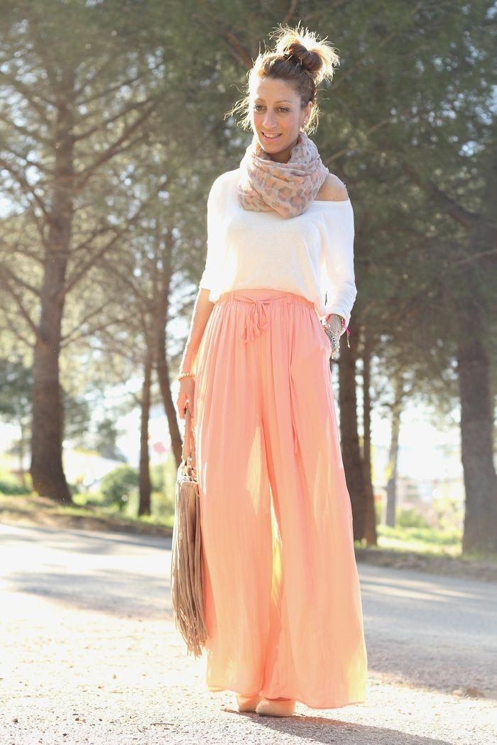 Summery look: white top, nude/pink leopard print scarf, nude bag, and light orange pants. Would also look lovely with a long bright coral maxi skirt.
