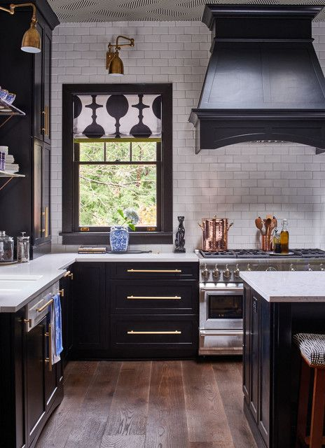 Discount Furniture Greensboro Nc Kitchen Eclectic with Black and White Contrast Range Roman Shade Vent Hood