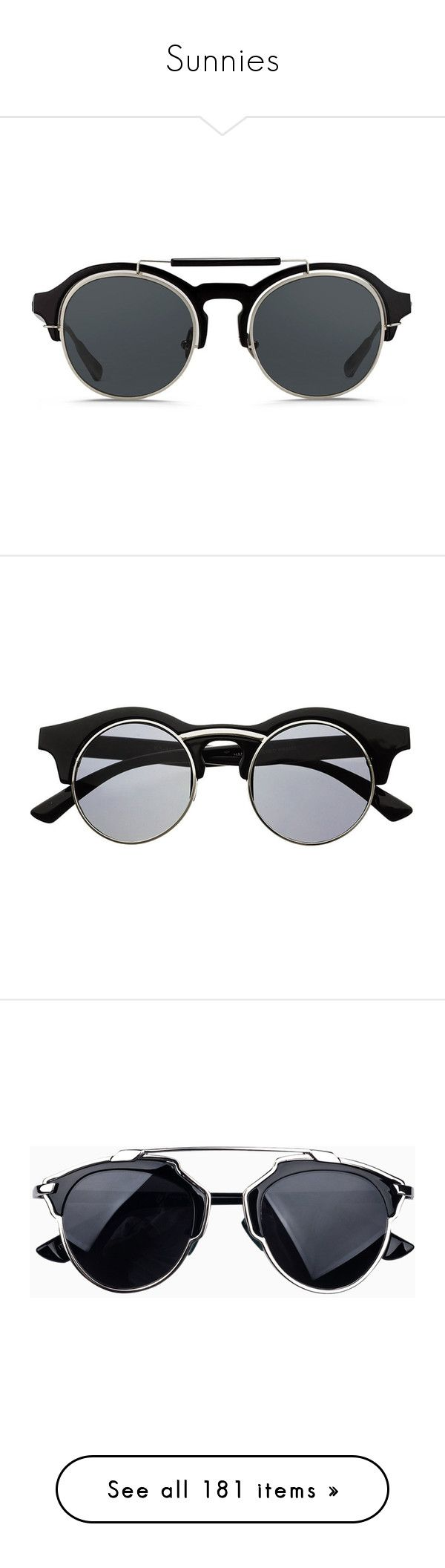 """Sunnies"" by baludna ❤ liked on Polyvore featuring accessories, eyewear, sunglasses, glasses, black, round sunnies, round eyewear, rounded sunglasses, summer sunglasses and round black glasses"