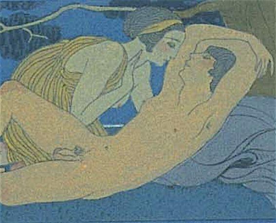 Illustrations By George Barbier 1882 1932 1922 La Nuit Detail Les Chansons De Bilitis Woodcuts By F L Schmied Text By Illustration Art Old Art Art