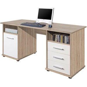 Gezien op beslist.nl: Bureau verano - sonoma eikenhoutkleurig/wit, home24 office