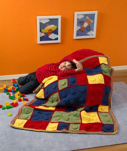 "Building Blocks Throw Crochet Pattern | Red Heart - my nephews would love this ""leggo my legos!"" ;)"