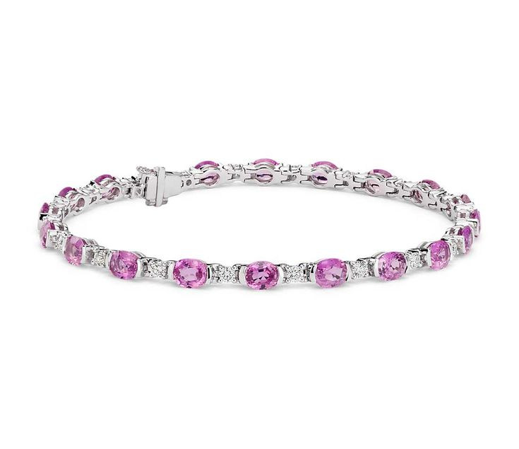 Oval Pink Sapphire and Diamond Semi-Bezel-Set Bracelet in 18k White Gold (5x4mm)