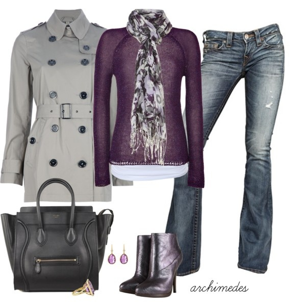 """""""Autumn in Lilac""""Purple, Style, Autumn, Clothing, Colors, Fall Outfits, Winter Outfit, Grey, Fall Fashion"""