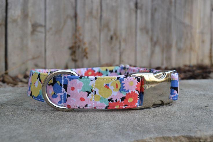 Floral Dog Collar, Flower Dog Collar, Pink Yellow White and Blue Dog Collar, Female Dog Collar, Girl Dog Collar, Colorful Floral Dog Collar by SitStayStitch on Etsy https://www.etsy.com/listing/268073690/floral-dog-collar-flower-dog-collar-pink