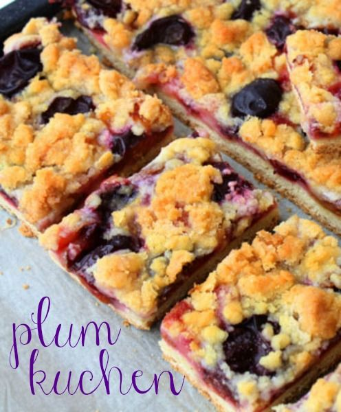 Plum Kuchen. Could this be Prune Kuchen?  I love prunes. The original pinner said: This was my first time cooking with plums. It turned out really good. Loved the sweet-tart taste of the cake. I only used 1/2 c of sugar over the cake, and it only needed about 30 minutes in the oven. Would make it again!