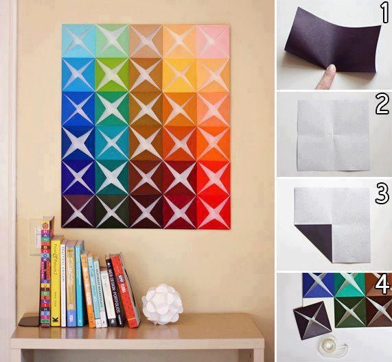 Make Easy DIY Wall Art From Folded Paper Craft Room Decoration