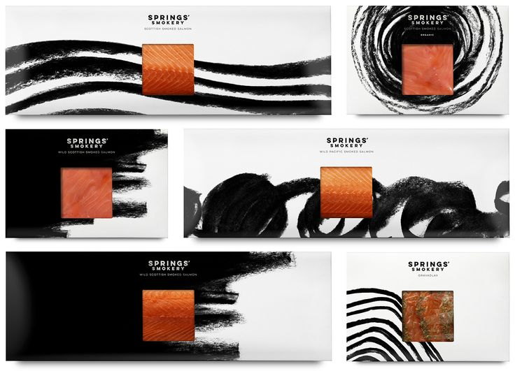 Package design for premium smoked salmon producer Springs' Smokery by graphic design studio Distil