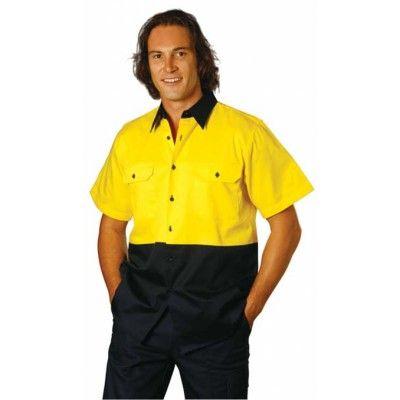 Hi-Vis two tone S/S cotton work shirt Colours : Orange/Navy   Yellow/Navy Work Wear / Shirts (SW53_win)