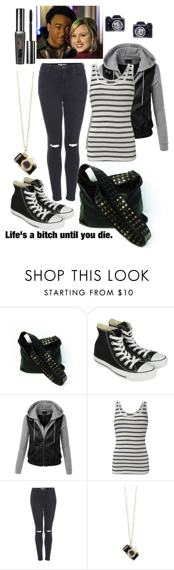 """""""Veronica Mars Movie"""" by rubyisnotonfire ❤ liked on Polyvore featuring Converse, LE3NO, French Connection, Topshop, Betsey Johnson, VeronicaMars and TeamLogan"""