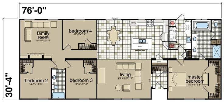 The Hillcrest IV built by Titan Factory Direct in San Antonio, TX. View the floor plan of this 4-bedroom, 2-bathroom Double-Wide home.