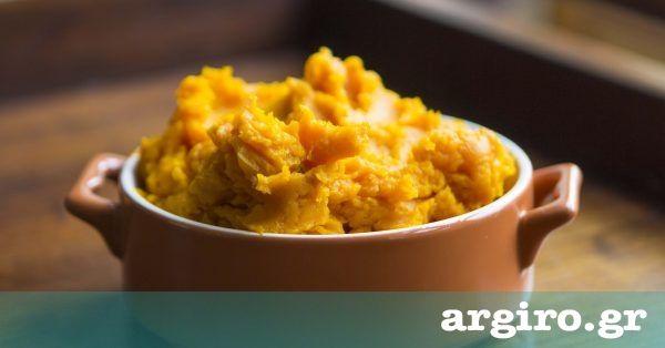 Πουρές κολοκύθας από την Αργυρώ Μπαρμπαρίγου | Φτιάξτε αυτό τον αλμυρό πουρέ από κίτρινη κολοκύθα και στολίστε τα γιορτινά σας τραπέζια. Τέλεια γαρνιτούρα!
