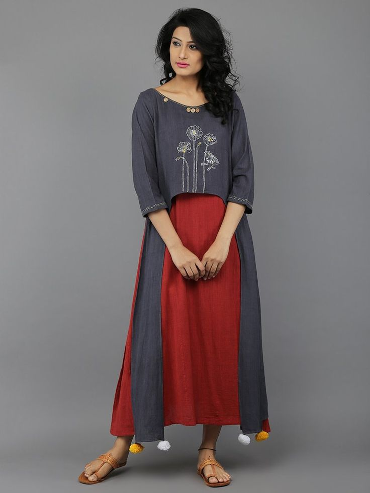 Grey Red Full Length Khadi Dress