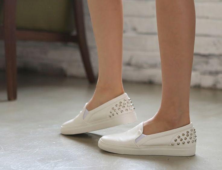 Korean fashion trend for womens: Korean style Shoes Sneakers-basic studs slip-on