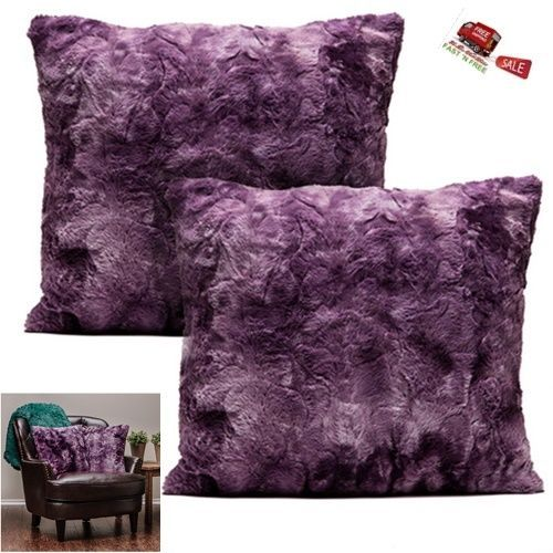 2 Pillowcase Cover Sham Purple Throw Soft Fuzzy Faux Fur Cozy Warm Sofa Decor 18 #Chanasya #Modern