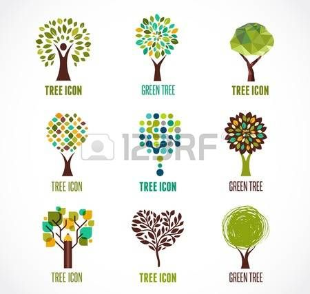 logo tree: Collection of green tree - logos and icons