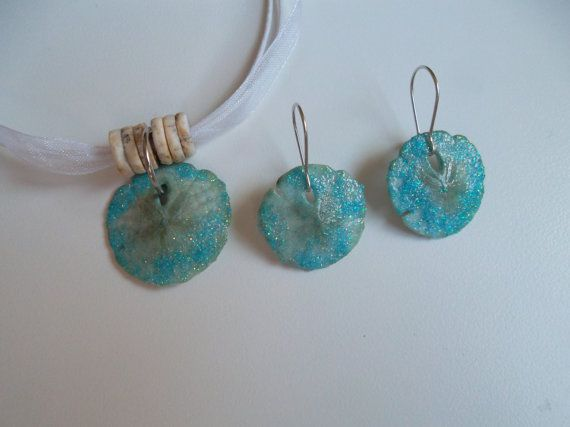 Matching Sand Dollar Jewelry Set Real by ransomletterhandmade, $27.00