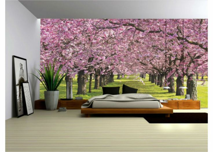 Wallpaper Mural ''FLOWERING TREES'' Fleece Photo Wallpaper Wall Murals (010VE)