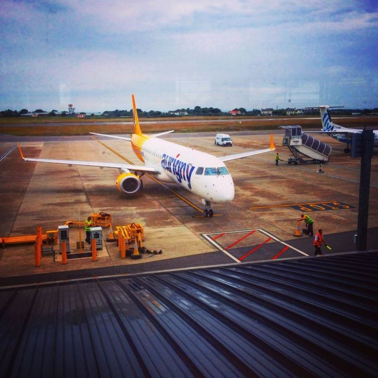 Aurigny Embraer 195 at Guernsey Airport