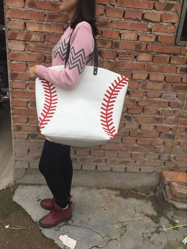 Canvas Baseball Tote.  22x18x7.  Pre-Order for $19 plus shipping.  Silk print laces.  Expected delivery date to me mid May.