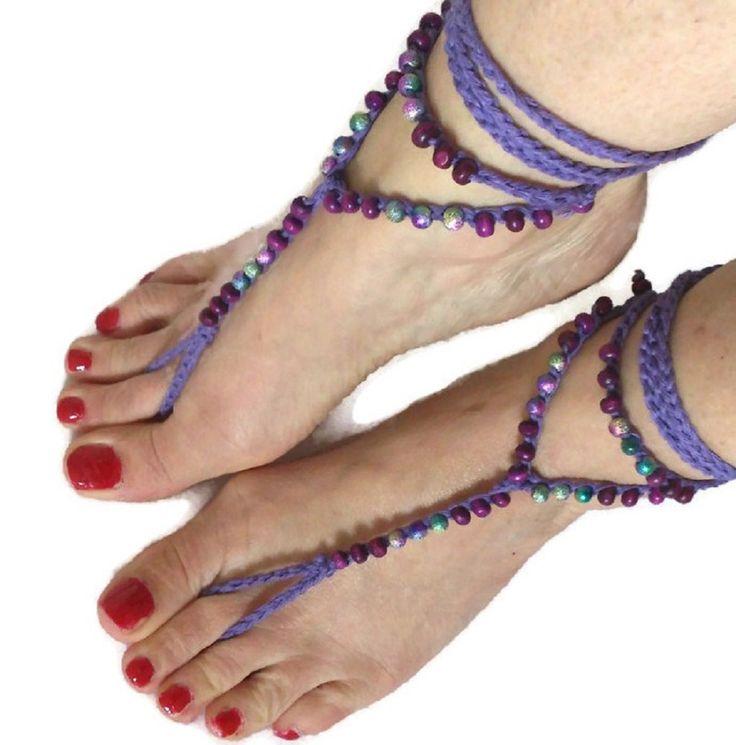 Purple Barefoot sandals. Beaded Crocheted Beach Yoga Festival Pool Slave anklet Crochet by thekittensmittensuk on Etsy