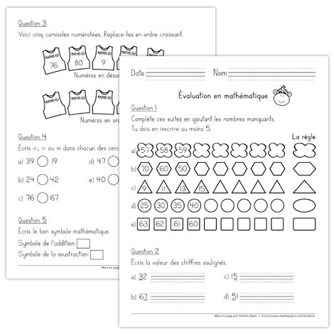 Fichier PDF téléchargeable En noir et blanc 16 pages Version 2012 Ce document contient 27 questions d'évaluation des connaissances en mathématique pour la 1re année (mois de juin).