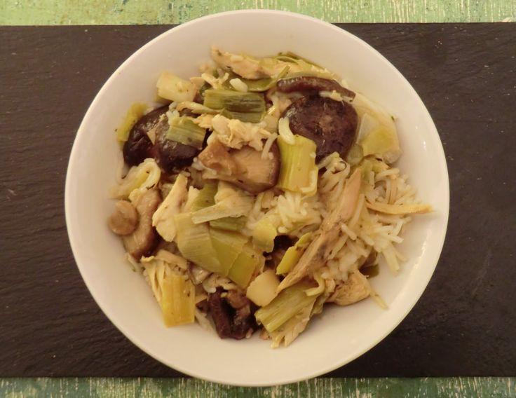 Ma petite cuisine gourmande sans gluten ni lactose: Nouilles de riz basmati aux shiitakés, poireaux et poulet