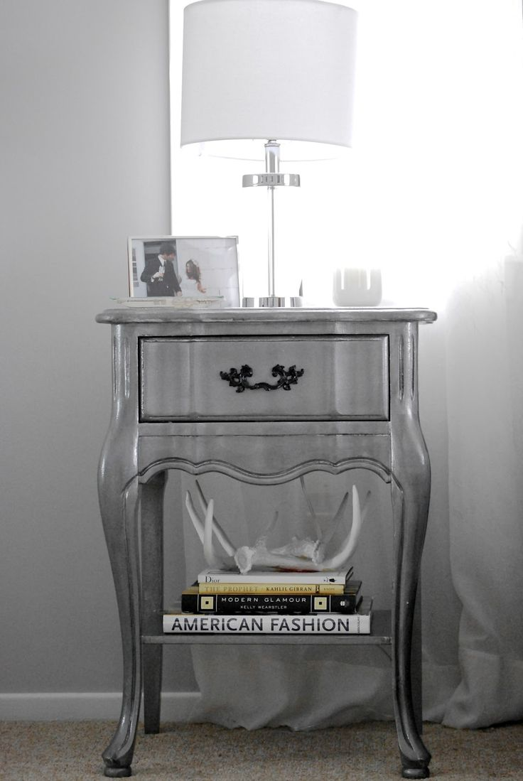November Grey:  Silver Nightstand DIY. From outdated shabby chic white, to glamorous silver!