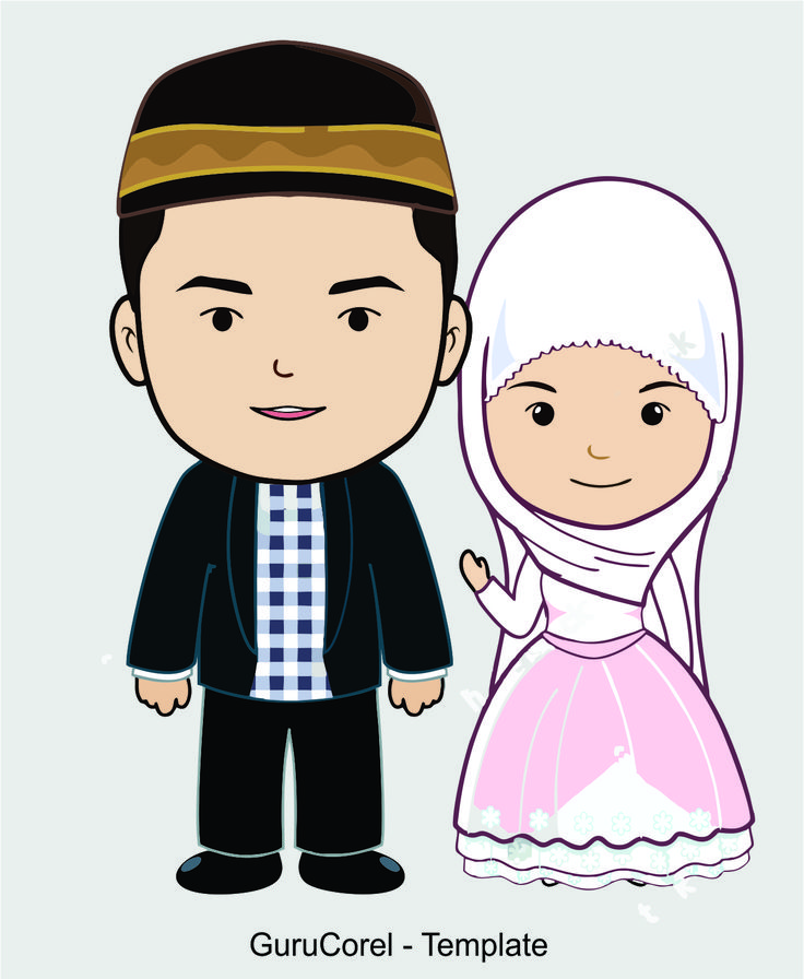 Gambar Kartun Anak Muslim Vector Gambar pengantin