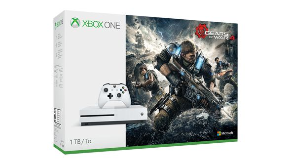 Xbox One S Gears of War 4 Bundle (1TB)★★★★★ OfferPrice: $349 1. Xbox One S 1TB console 2. Xbox Wireless Controller 3. Gears of War 4 full game download 4.14-day Xbox Live Gold trial 5.For a limited time, free download of entire Xbox 360 Gears of War collection 6. Grab Xbox one S console deals from Microsoft