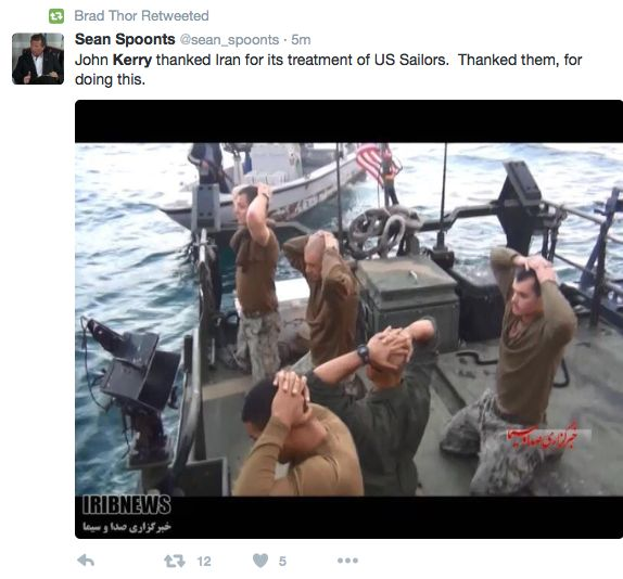 THIS MAN REALLY HATES AMERICA: John Kerry Thanks Iran For Releasing Captured Sailors; Humiliating Video, Pics Of Sailors With Hands On Heads, Under Arrest, Also Released