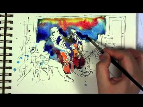 Watercolor and Ink Sketch Painting Demo by Yevgenia Watts