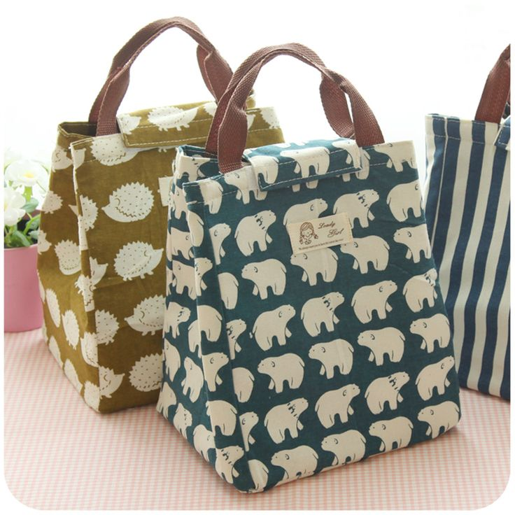 New Fashion Portable Insulated Canvas Lunch Bag Waterproof Tote Thermal Lunch Bags for Women kids Cooler Lunch Box Bag Tote