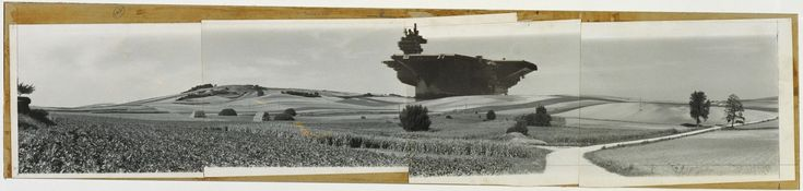 This photomontage comes from Hollein's series Transformations, created between 1963 and 1968. In the series, an agricultural or urban landscape, often barren, is the site for a monumental industrial object. Hollein used machine technology—sparkplug, boxcar, and, here, aircraft carrier—to create a pure, absolute architecture with no identifiable architectonic style. Hollein followed Aircraft Carrier City in Landscape with a group of site photographs in 1964, dispensing with buildings…