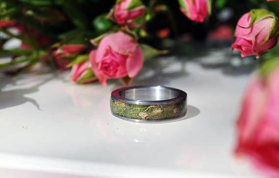 Titanium Ring met bloemen Titanium Ring vitha echte bloemen