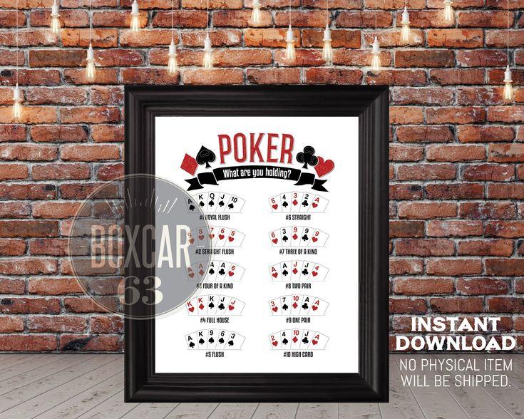 Poker hand ranking poster instant download digital