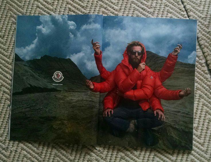 En feuilletant l'un de mes magazines préférés, je tombe sur cette publicité pour la marque de doudounes Moncler. Décidément, des sommets de l'Himalaya aux pistes de Gstaad la mythologie Hindoue est...