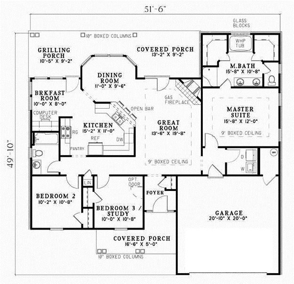 Ranch Style House Plans   1525 Square Foot Home, 1 Story, 3 Bedroom And