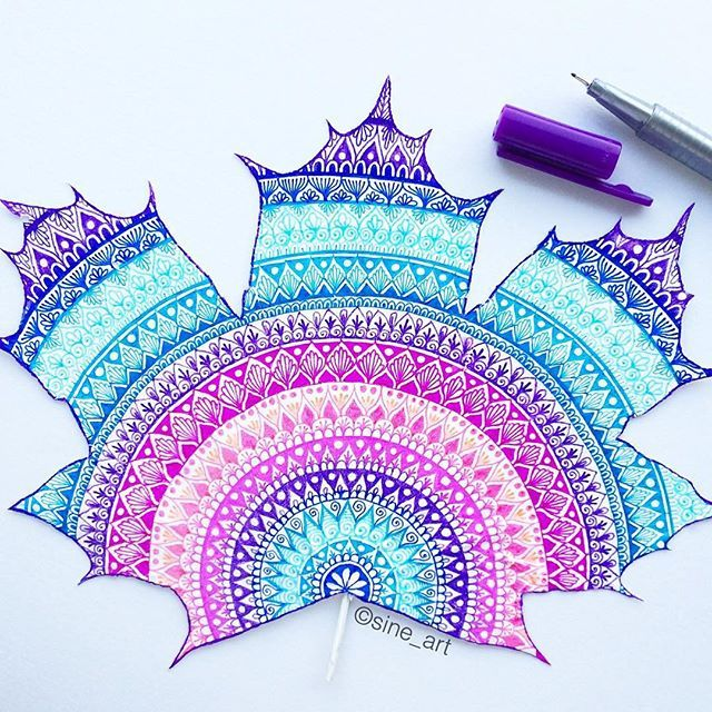 Purple and blue mandala drawn on a real leaf with our triplus fineliners by the…