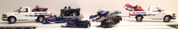 ERTL, Outdoor Sportsman series, Ford F150's, tilt trailers, Polaris ATV's and snow machines, 1/18 diecast