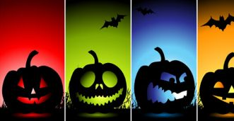 Funny colorful pumpkins halloween facebook covers