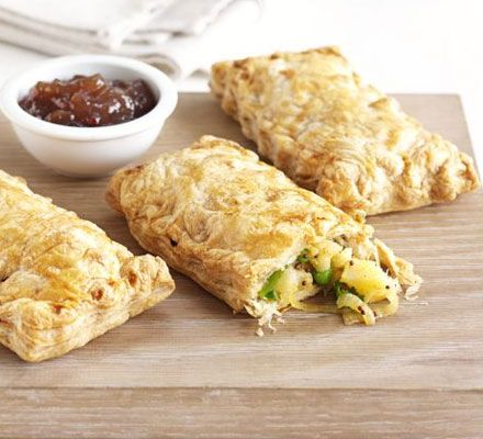 Curried potato pasties | BBC Good Food    I'd be tempted to add a little shredded chicken too!