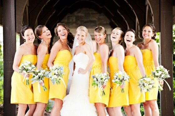 I actually like these bright yellow bridesmaid dresses.